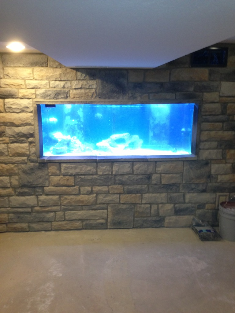 I Finally Have A Man Cave With My 210 Aquarium Built Into A Wall/closet  Area! The Bar